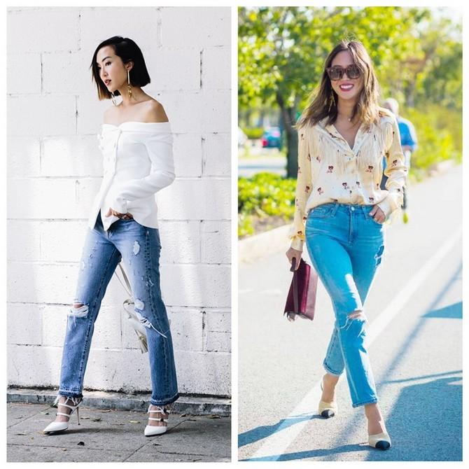 Идеи образов с голубыми джинсами, которые не выйдут из моды 2