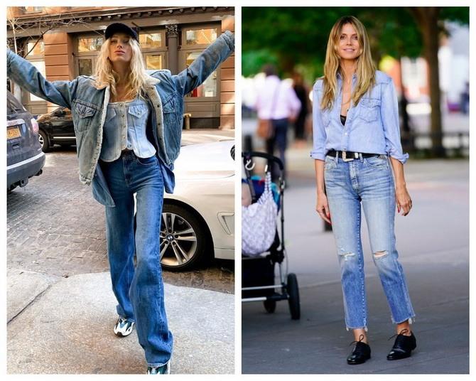 Идеи образов с голубыми джинсами, которые не выйдут из моды 14