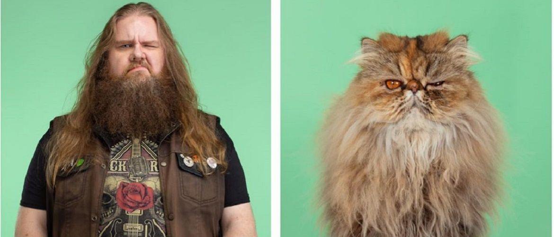 А у вас так же? Фотограф изобразил, насколько похожи кошки и их хозяева