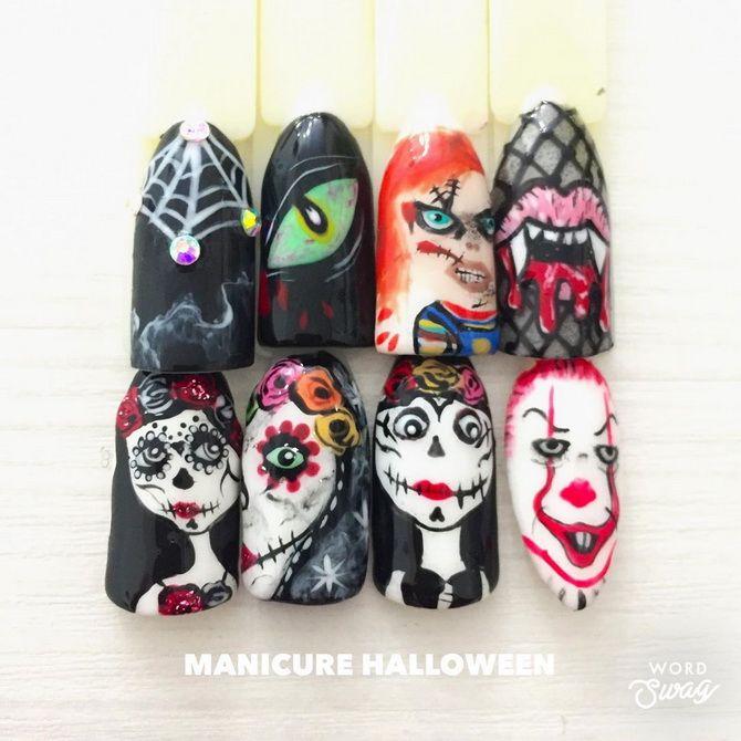 Яркий, смешной, красивый, ужасный: 50+ новых идей маникюра на Хэллоуин 2020 43