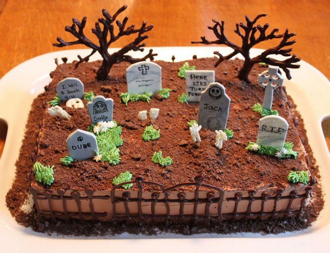 Торт на Хэллоуин: варианты украшения «ужасного» десерта 33