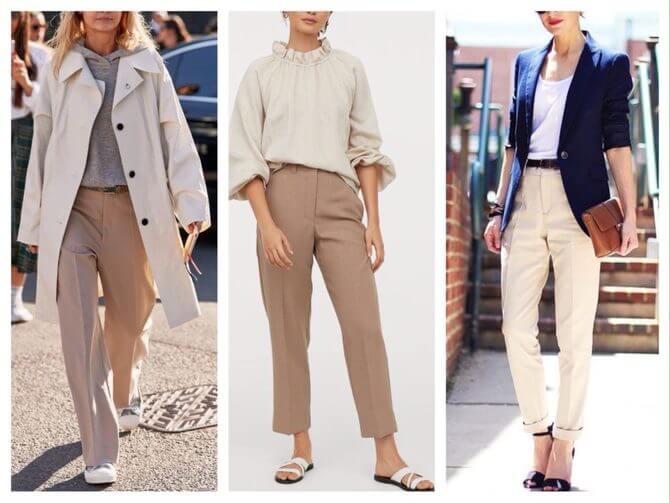 Бежеві штани для жінок – з чим поєднувати 17