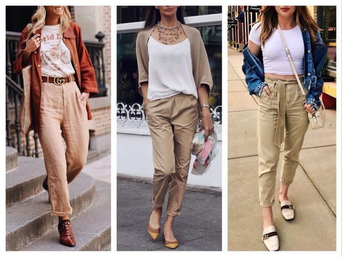 Бежеві штани для жінок – з чим поєднувати 19