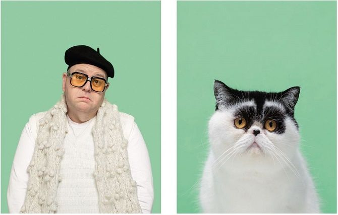 А у вас так же? Фотограф изобразил, насколько похожи кошки и их хозяева 3