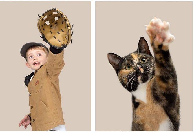 А у вас так же? Фотограф изобразил, насколько похожи кошки и их хозяева 5