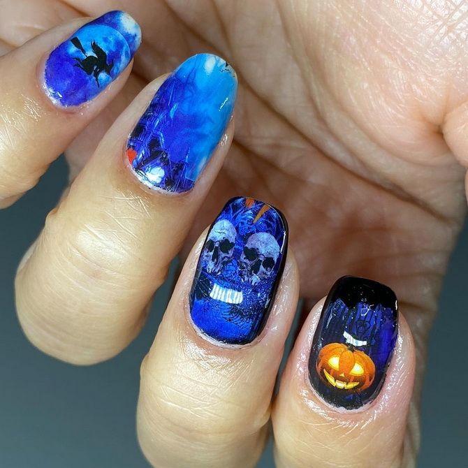 Яркий, смешной, красивый, ужасный: 50+ новых идей маникюра на Хэллоуин 2021 33