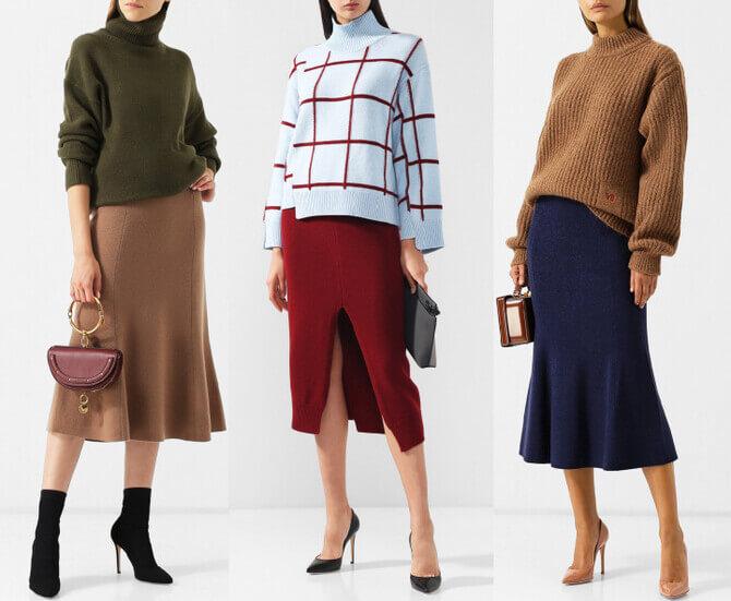 C чем носить шерстяную юбку в 2020 году 2