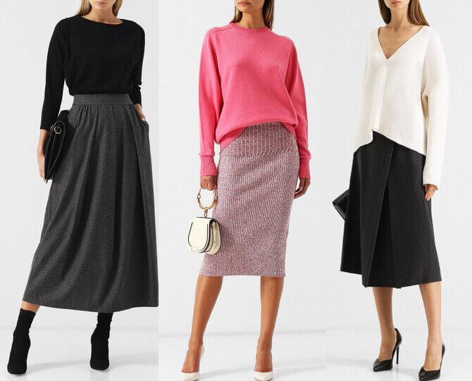 C чем носить шерстяную юбку в 2020 году 6