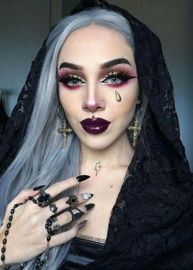61 жуткая, но красива идея макияжа на Хэллоуин 2020 9