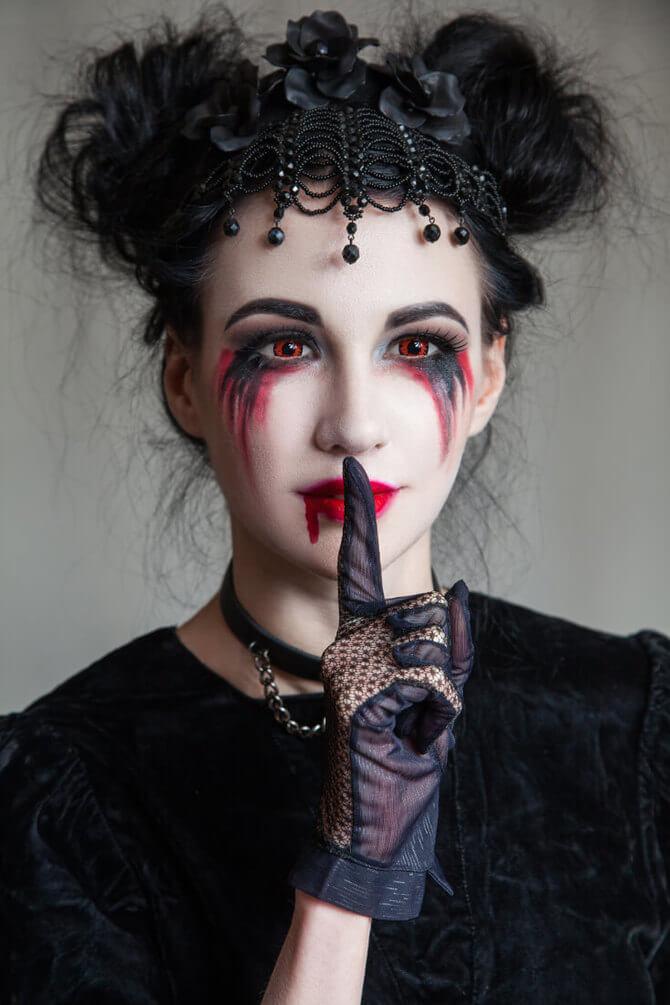 61 жуткая, но красива идея макияжа на Хэллоуин 2020 33