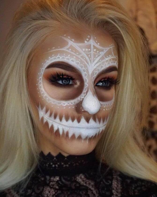61 жуткая, но красива идея макияжа на Хэллоуин 2020 37