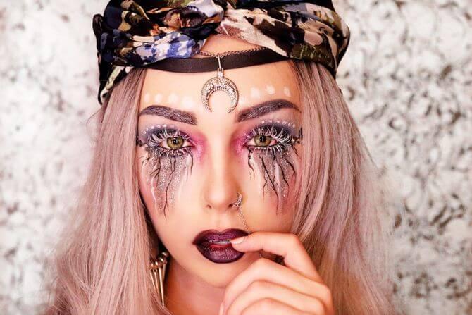61 жуткая, но красива идея макияжа на Хэллоуин 2020 39