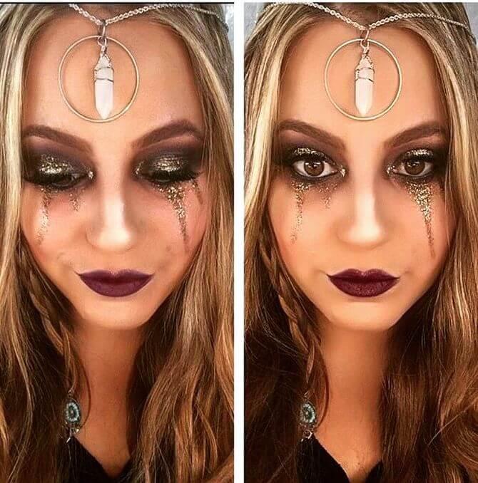61 жуткая, но красива идея макияжа на Хэллоуин 2020 40