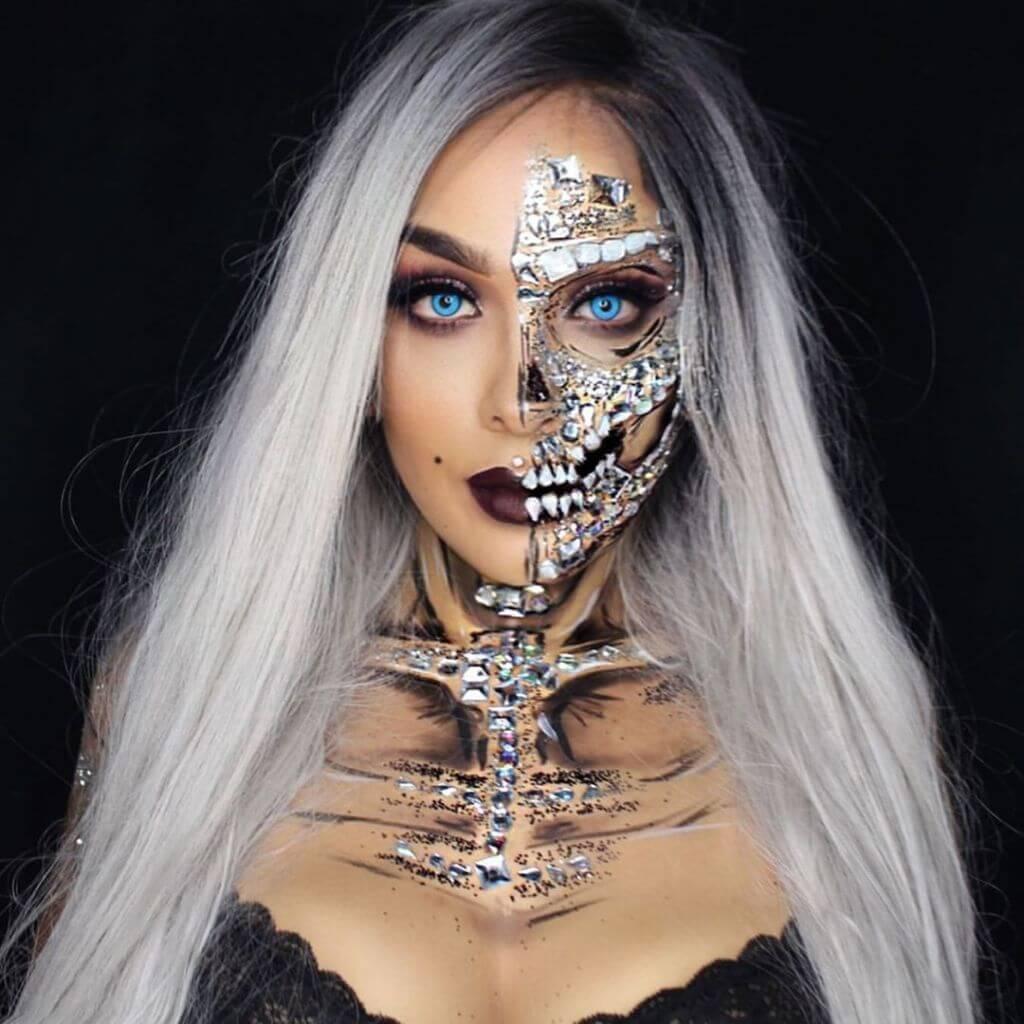 61 жуткая, но красива идея макияжа на Хэллоуин 2020 48
