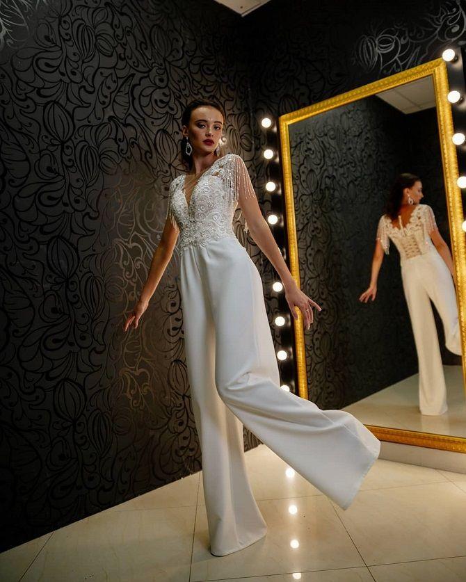 Свадебные комбинезоны — лучшие идеи для смелых невест 18