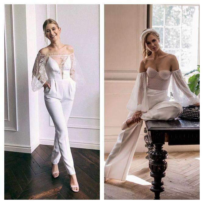 Свадебные комбинезоны — лучшие идеи для смелых невест 9