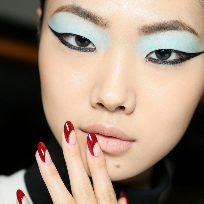 Бордовый дизайн ногтей на холодный сезон 1