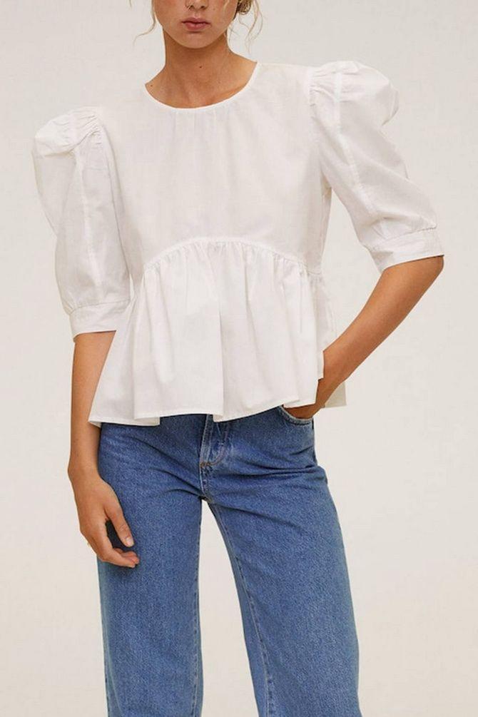 С чем носить блузы с объемными рукавами 12