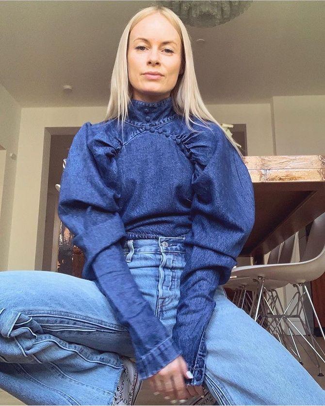 С чем носить блузы с объемными рукавами 31
