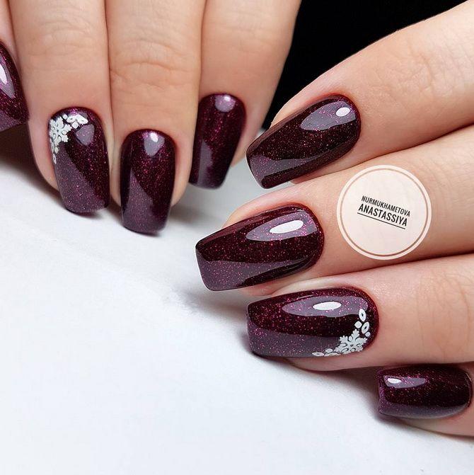 Бордовый дизайн ногтей на холодный сезон 2