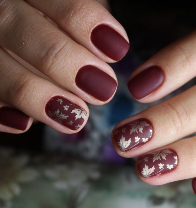 Бордовый дизайн ногтей на холодный сезон 11