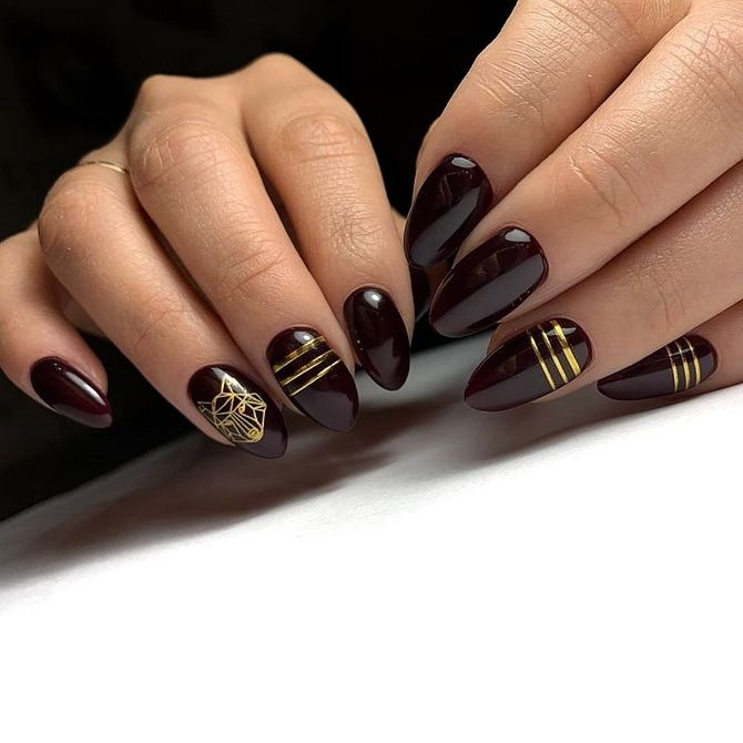Бордовый дизайн ногтей на холодный сезон 16