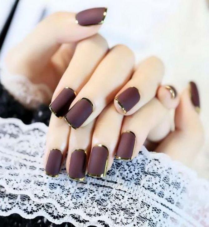 Бордовый дизайн ногтей на холодный сезон 17