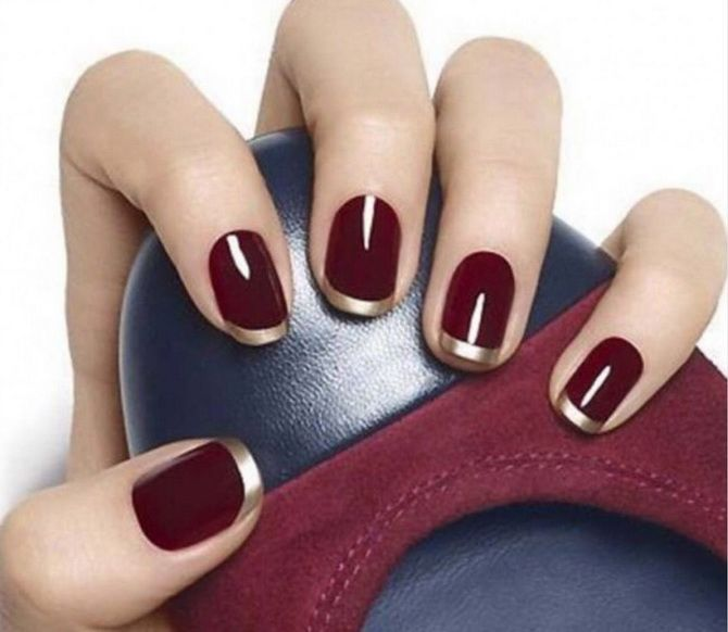 Бордовый дизайн ногтей на холодный сезон 18