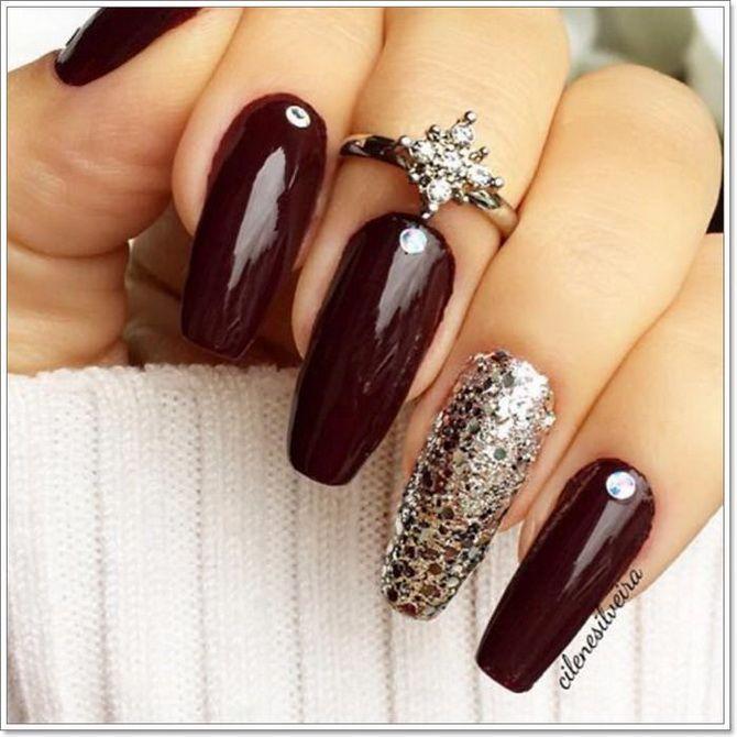 Бордовый дизайн ногтей на холодный сезон 3