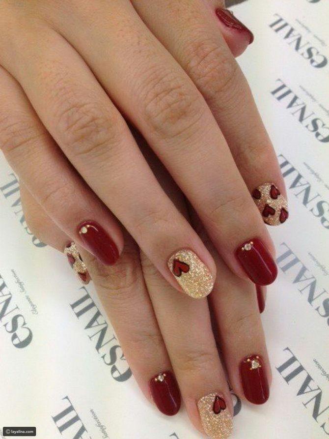 Бордовый дизайн ногтей на холодный сезон 19