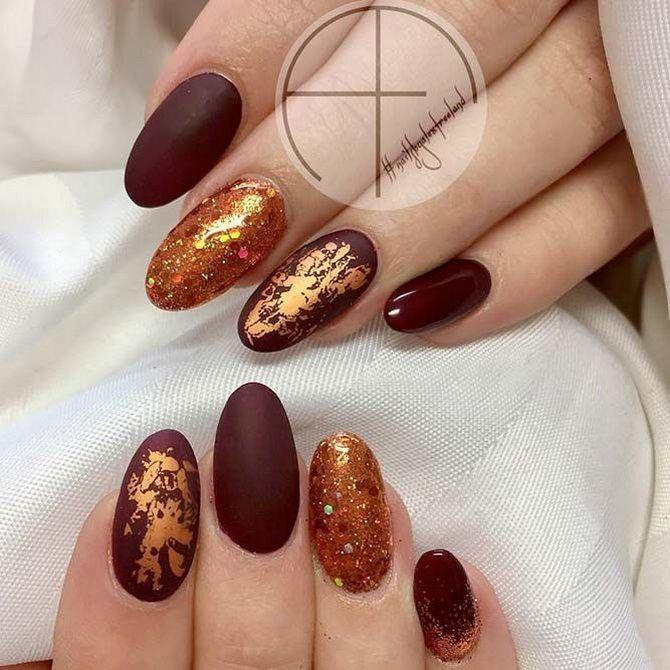 Бордовый дизайн ногтей на холодный сезон 21