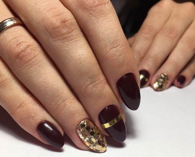 Бордовый дизайн ногтей на холодный сезон 22