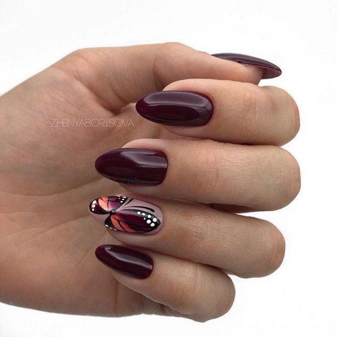 Бордовый дизайн ногтей на холодный сезон 25