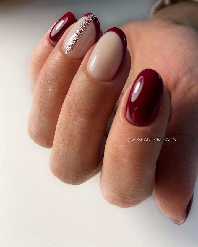 Бордовый дизайн ногтей на холодный сезон 27