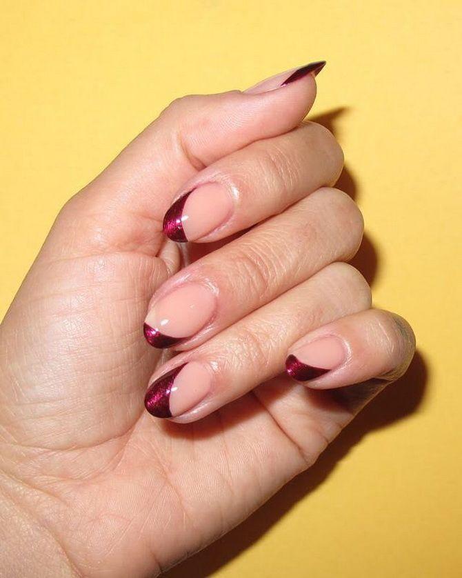 Бордовый дизайн ногтей на холодный сезон 26