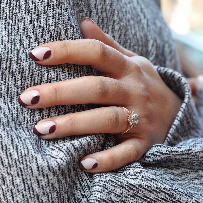 Бордовый дизайн ногтей на холодный сезон 28