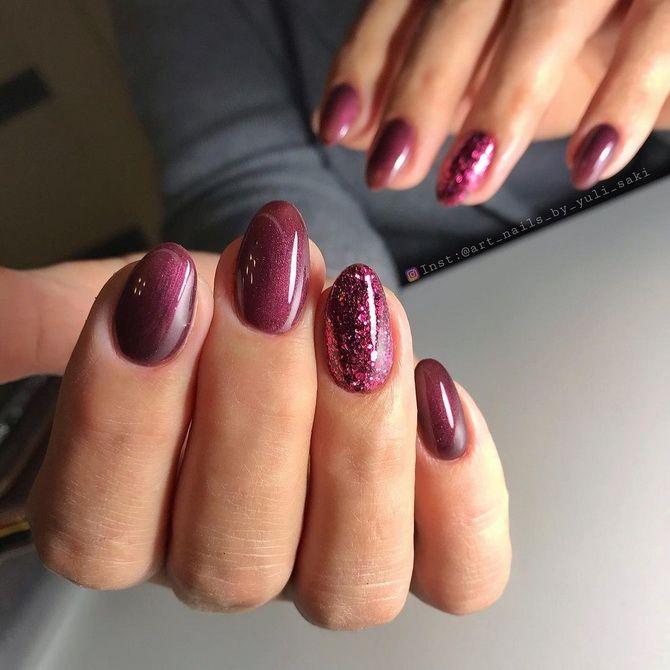 Бордовый дизайн ногтей на холодный сезон 4