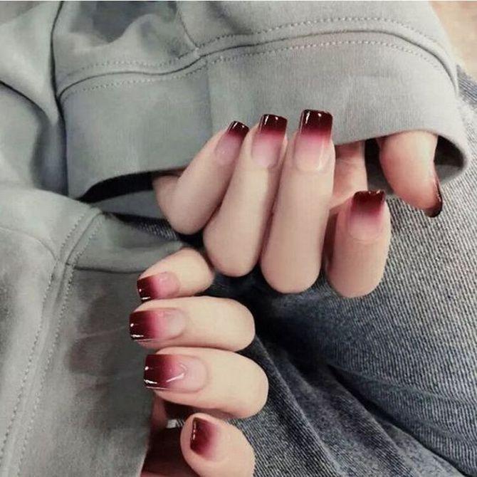 Бордовый дизайн ногтей на холодный сезон 29