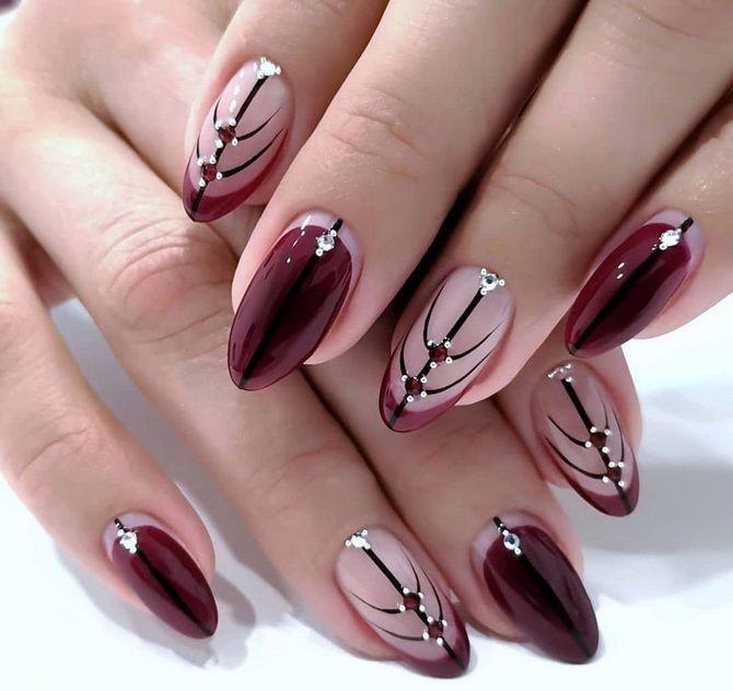 Бордовый дизайн ногтей на холодный сезон 32