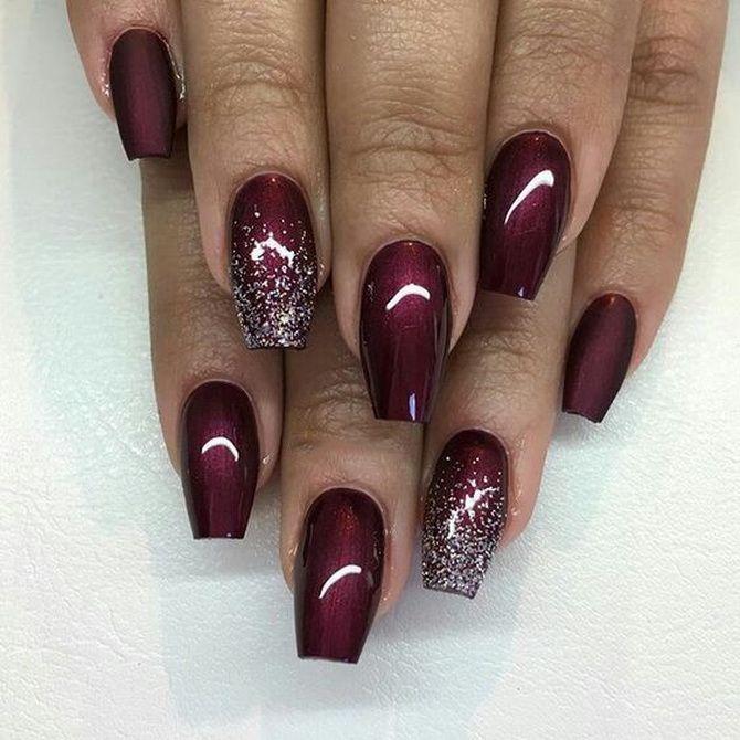 Бордовый дизайн ногтей на холодный сезон 6