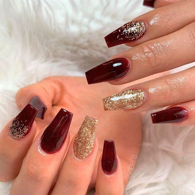 Бордовый дизайн ногтей на холодный сезон 7