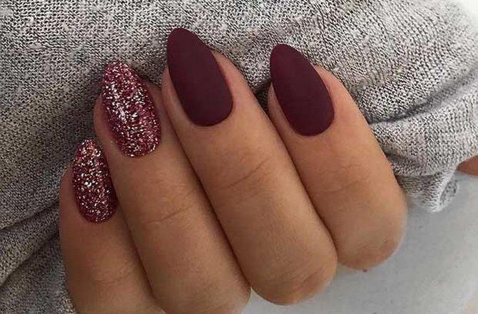 Бордовый дизайн ногтей на холодный сезон 8
