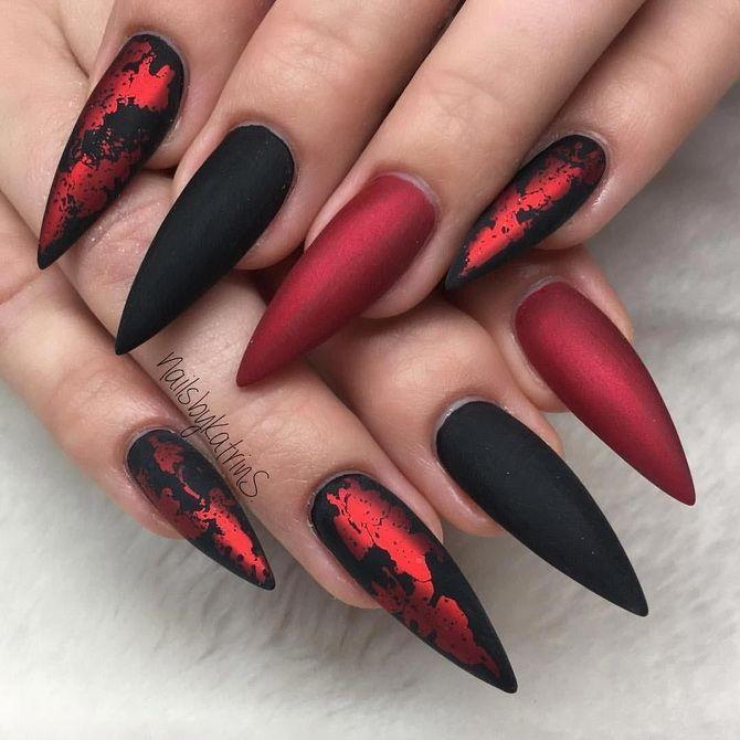 Бордовый дизайн ногтей на холодный сезон 10
