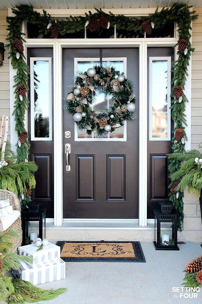 Лучшие идеи, как красиво и оригинально украсить двери на Новый год 2021 24