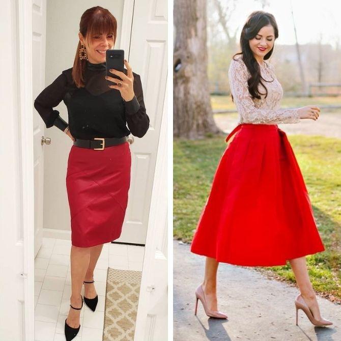 Красные юбки — с чем сочетать, чтобы выглядеть красиво 1