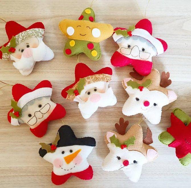 Новогодняя фетромания: елочные игрушки из фетра своими руками 39