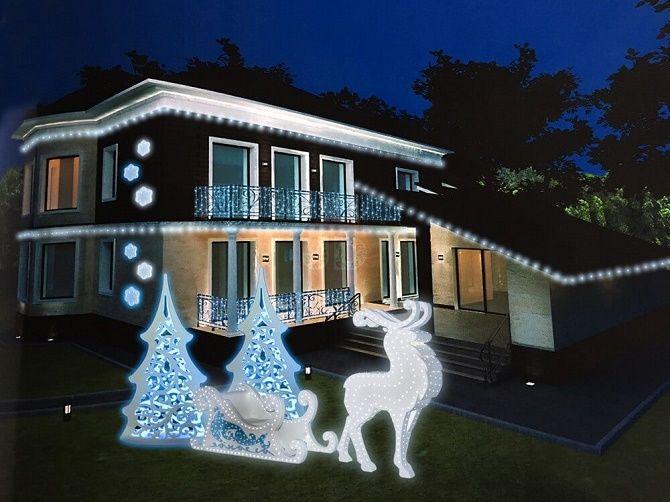 Лучшие идеи с фото, как украсить крышу и фасад дома на Новый год 2021 14