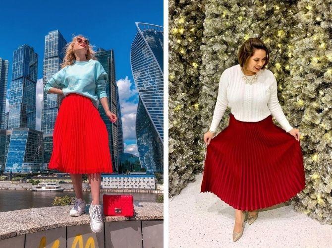 Красные юбки — с чем сочетать, чтобы выглядеть красиво 20