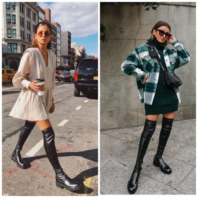 С чем носить ботфорты: фото и модные сочетания 2021 года 14