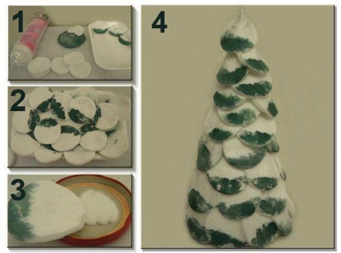 Створюємо ялинку з ватних дисків своїми руками – красиві вироби під Новий рік 10